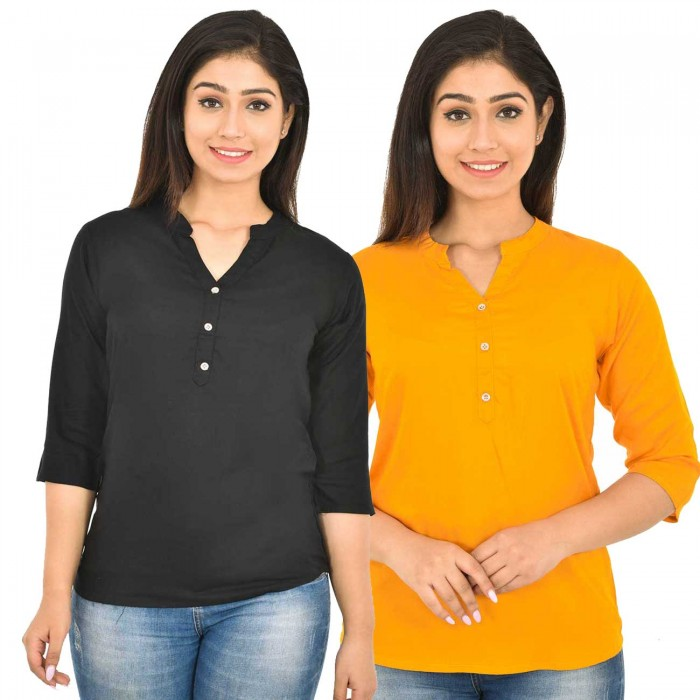 Black and Yellow Rayon Women Tops Combo Pack