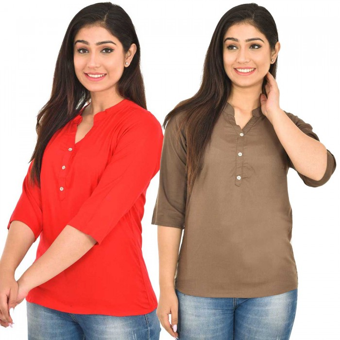 Carrotred and Brown Rayon Women Tops Combo Pack