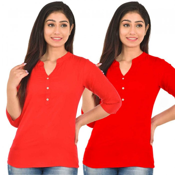Carrotred and Red Rayon Women Tops Combo Pack