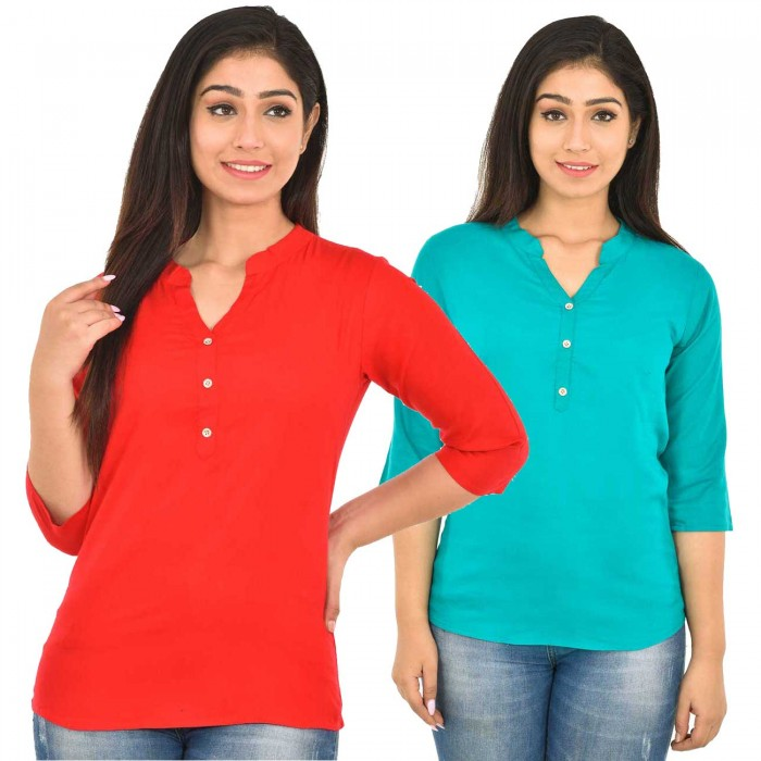 Carrot Red and Skyblue Rayon Women Tops Combo Pack
