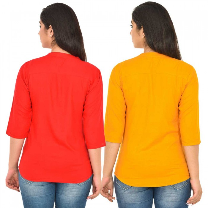 Carrot Red and Yellow Rayon Women Tops Combo Pack