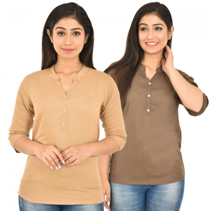 Chiku and Brown Rayon Women Tops Combo Pack