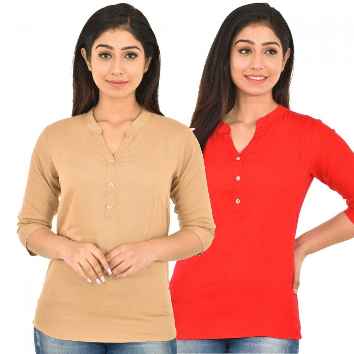 Chiku and Carrot Red Rayon Women Tops Combo Pack