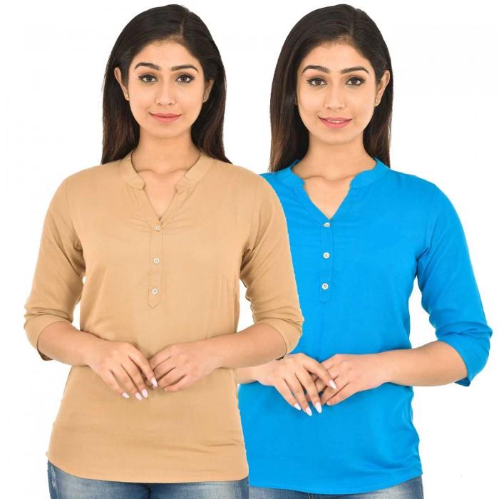 Chiku and Dark Sky Blue Rayon Women Tops Combo Pack