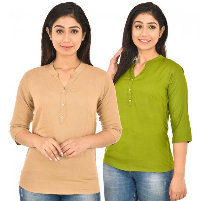 Chiku and Mehndi Rayon Women Tops Combo Pack