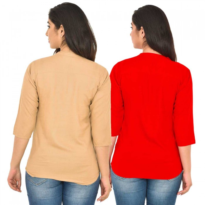 Chiku and Red Rayon Women Tops Combo Pack