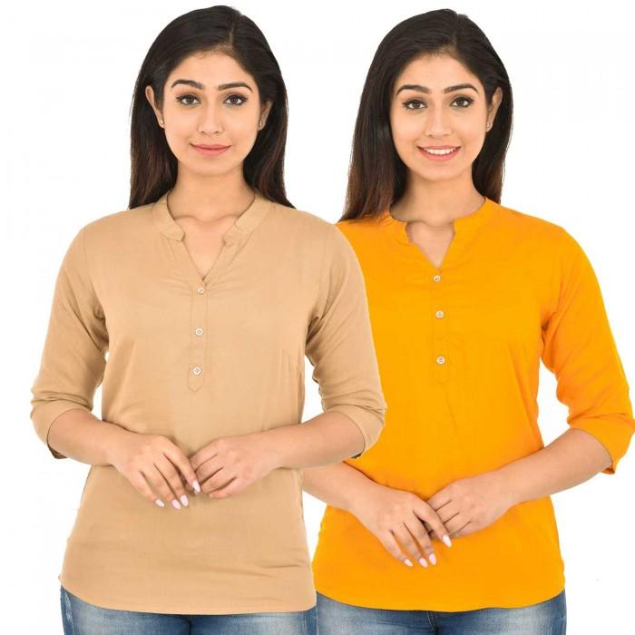 Chiku and Yellow Rayon Women Tops Combo Pack