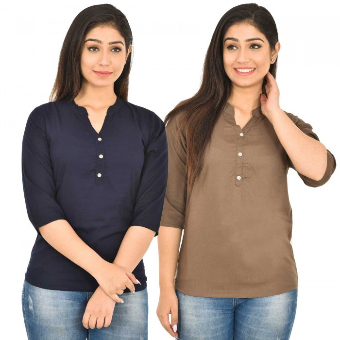Dark Blue and Brown Rayon Women Tops Combo Pack