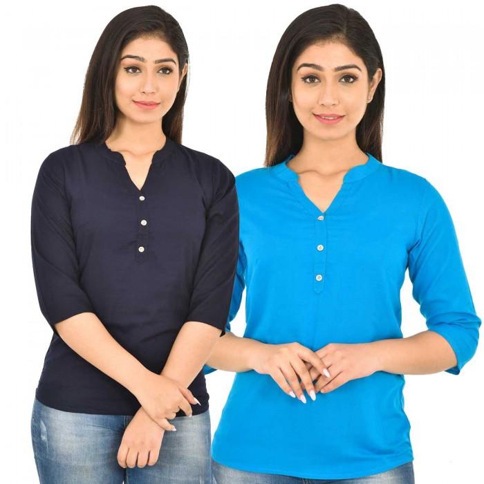 Dark Blue and Dark Sky Blue Rayon Women Tops Combo Pack