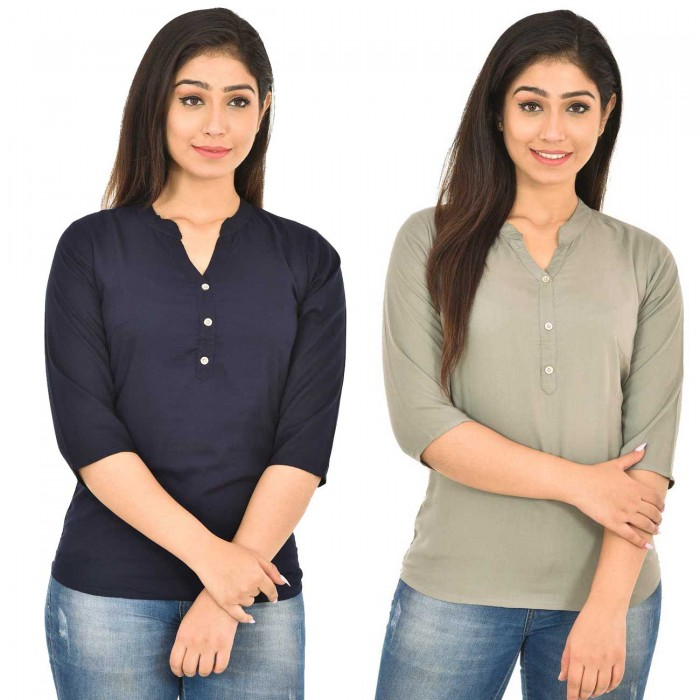 Dark Blue and Grey Rayon Women Tops Combo Pack