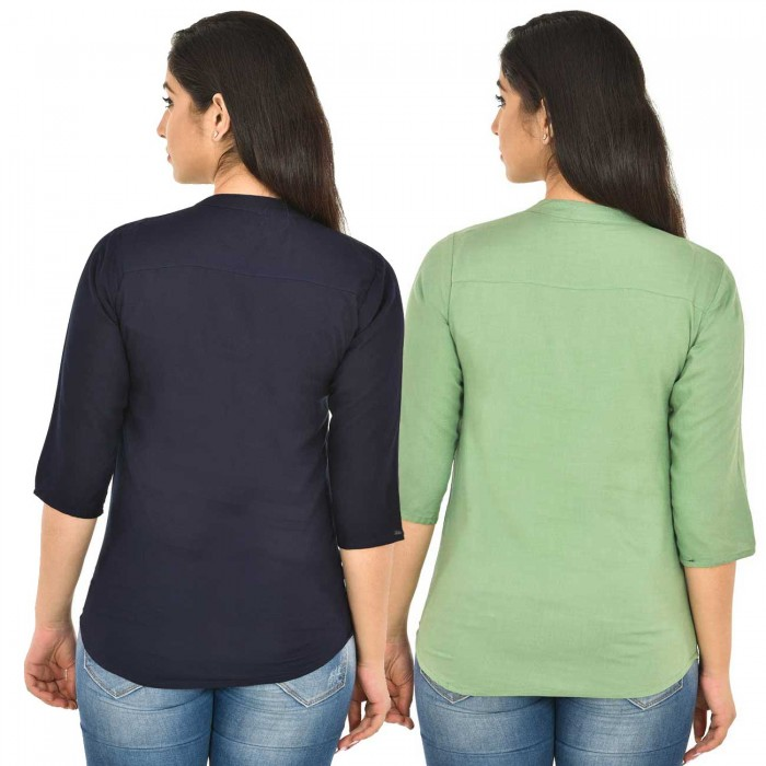 Dark Blue and Light Green Rayon Women Tops Combo Pack