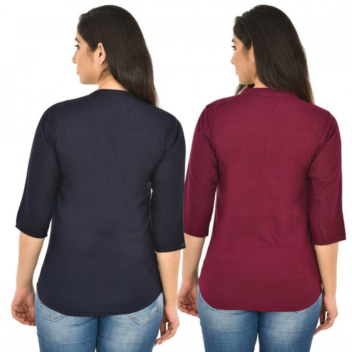 Dark Blue and Maroon Rayon Women Tops Combo Pack