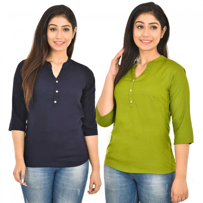 Dark Blue and Mehndi Rayon Women Tops Combo Pack