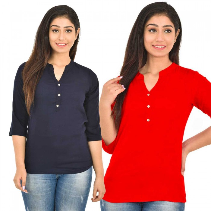 Dark Blue and Red Rayon Women Tops Combo Pack