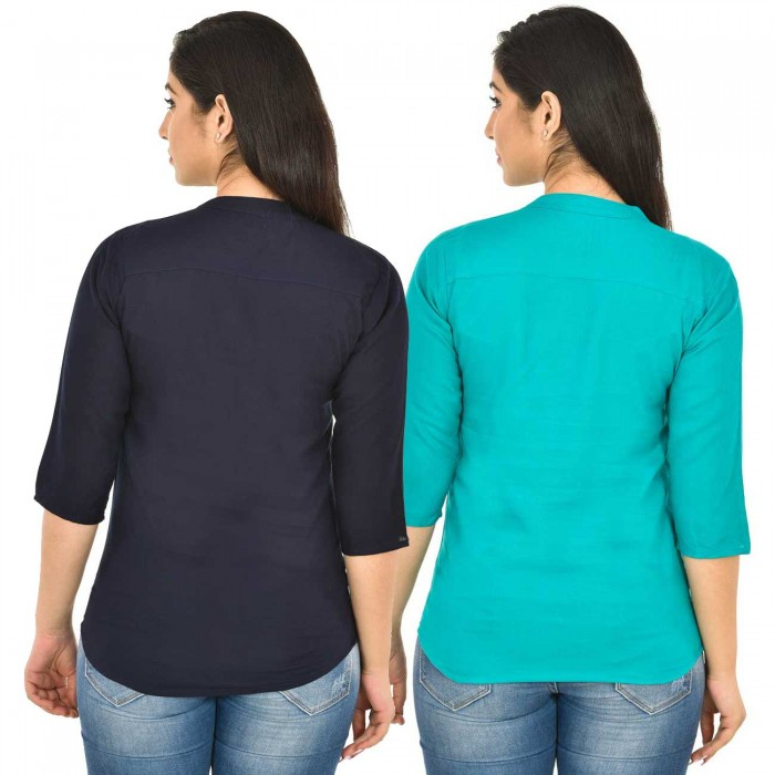 Dark Blue and Sky Blue Rayon Women Tops Combo Pack