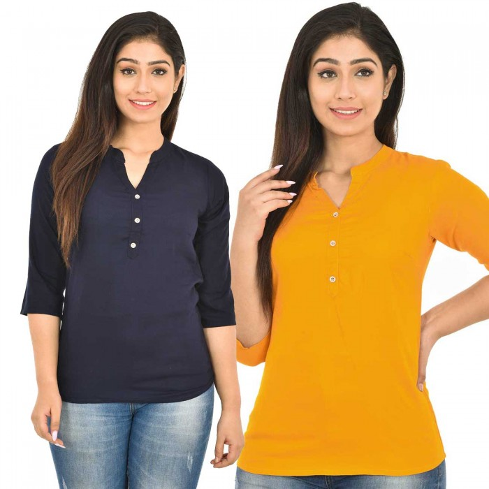 Dark Blue and Yellow Rayon Women Tops Combo Pack