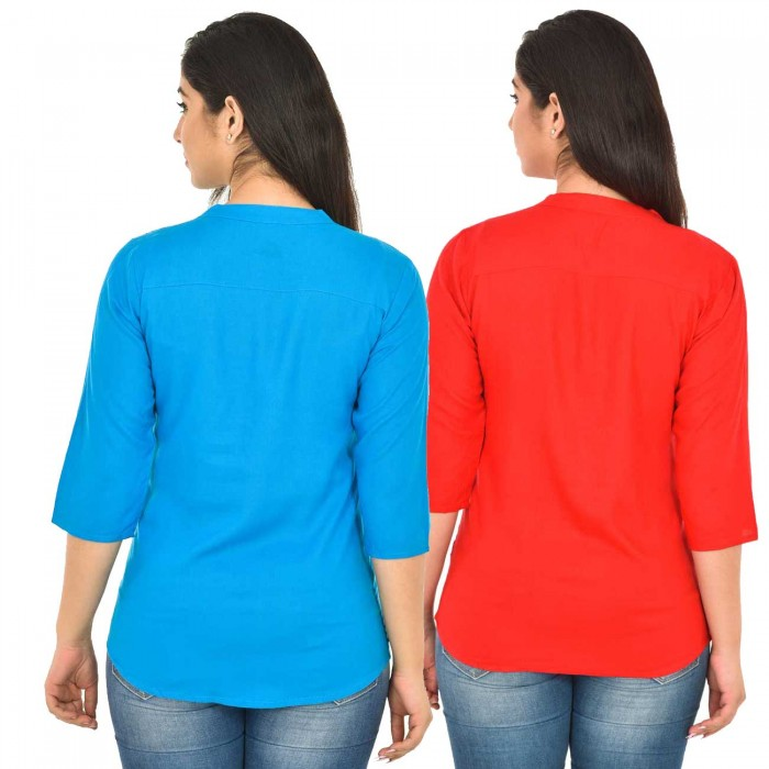 Dark Skyblue and Carrot Red Rayon Women Tops Combo Pack