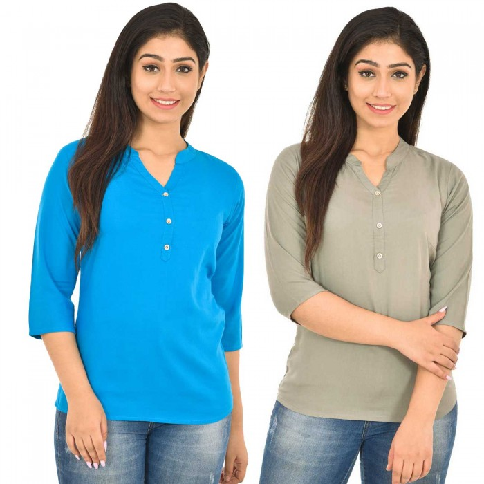 Dark Skyblue and Grey Rayon Women Tops Combo Pack