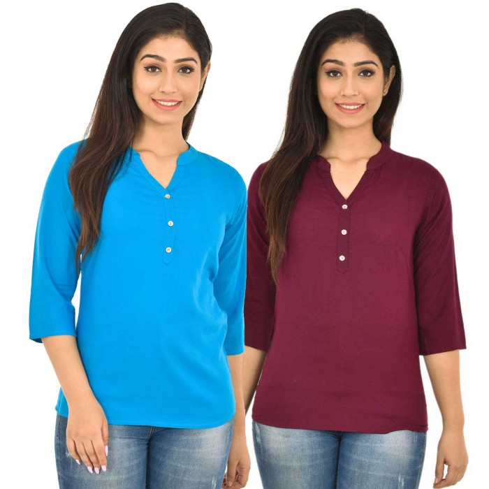 Dark Skyblue and Maroon Rayon Women Tops Combo Pack