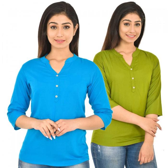 Dark Skyblue and Mehndi Rayon Women Tops Combo Pack
