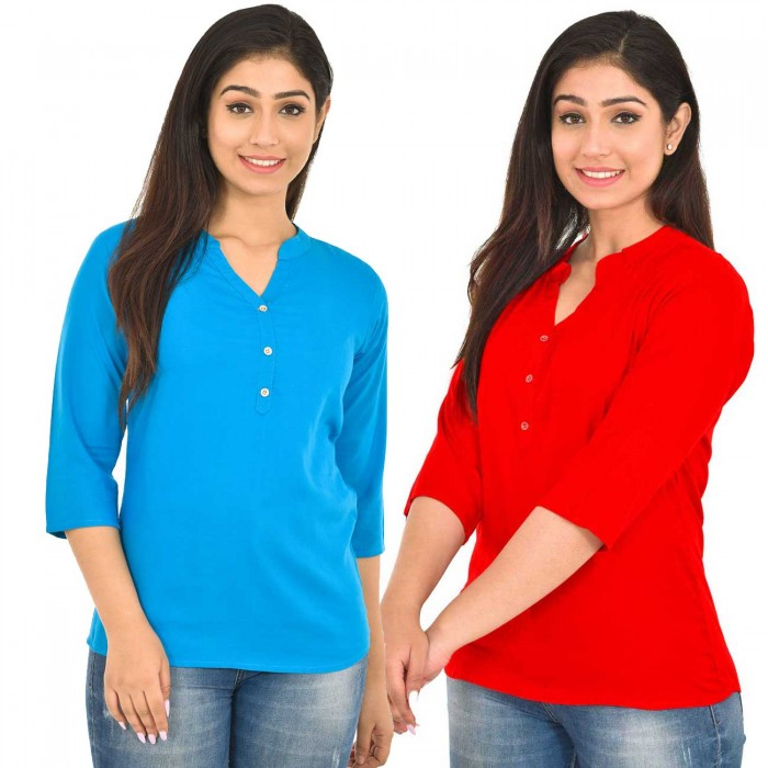 Dark Skyblue and Red Rayon Women Tops Combo Pack