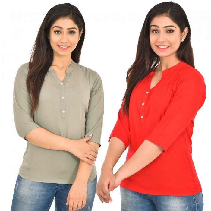 Grey and Carrot Red Rayon Women Tops Combo Pack