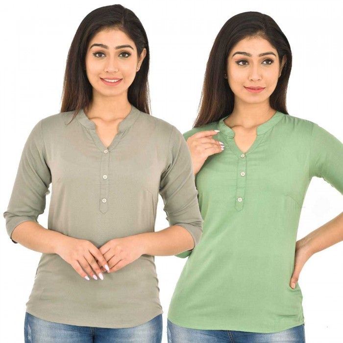 Grey and Light Green Rayon Women Tops Combo Pack