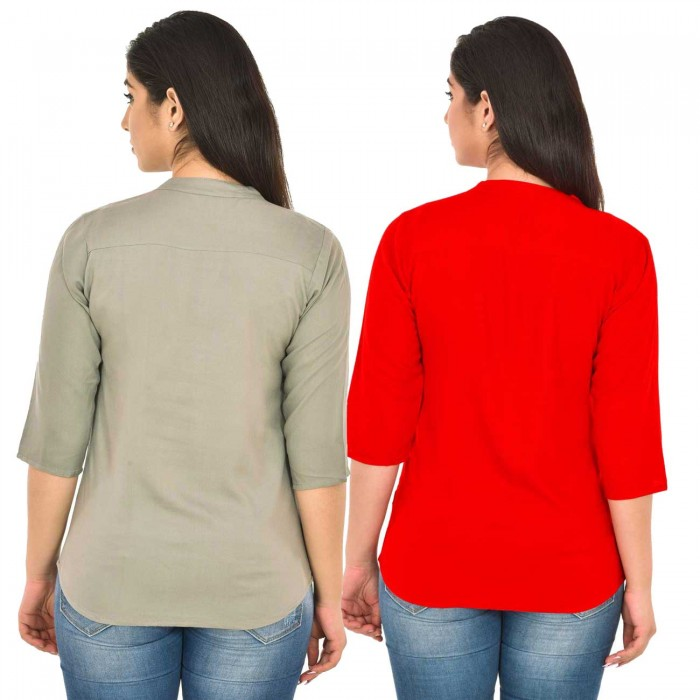Grey and Red Rayon Women Tops Combo Pack