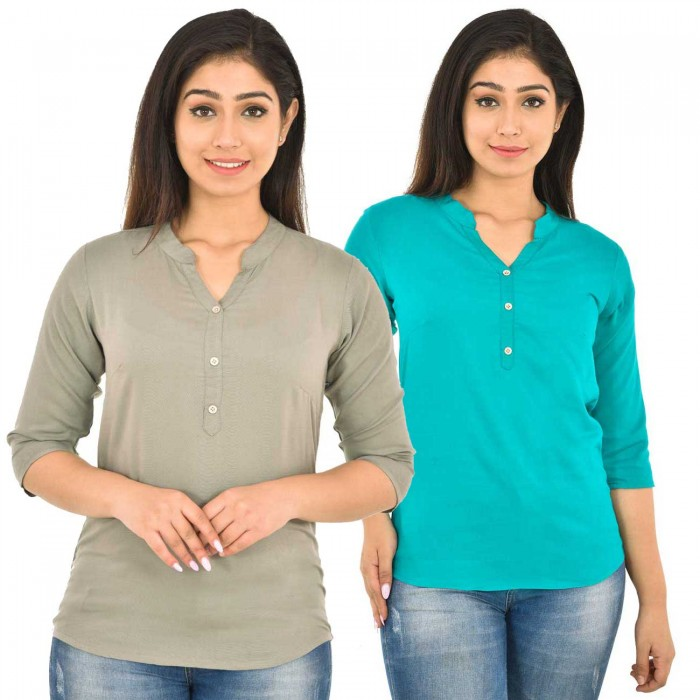 Grey and Sky Blue Rayon Women Tops Combo Pack