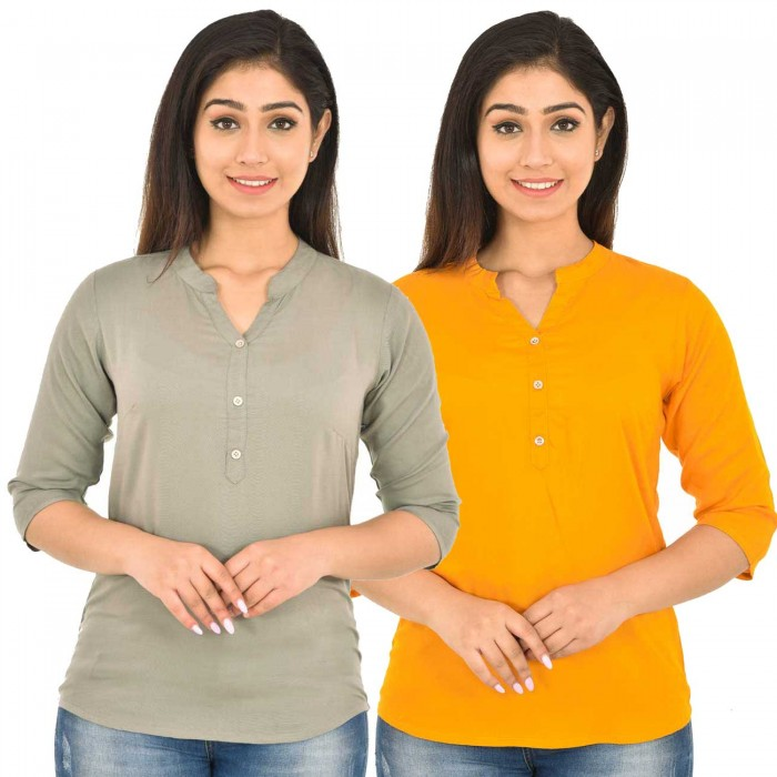 Grey and Yellow Rayon Women Tops Combo Pack