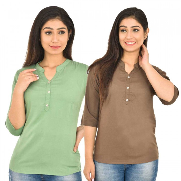 Light Green and Brown Rayon Women Tops Combo Pack