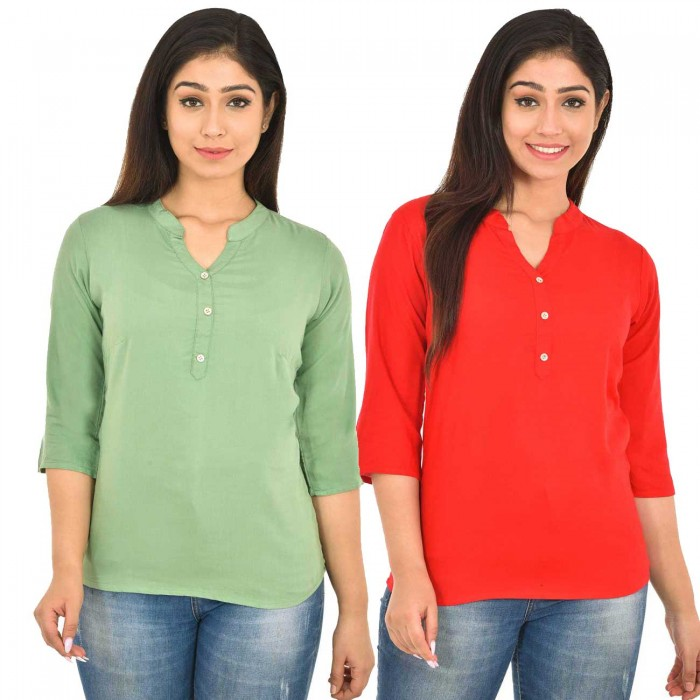 Light Green and Carrot Red Rayon Women Tops Combo Pack