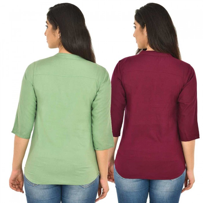 Light Green and Maroon Rayon Women Tops Combo Pack