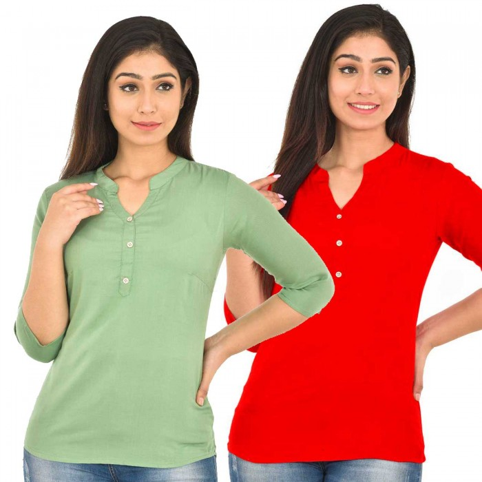 Light Green and Red Rayon Women Tops Combo Pack