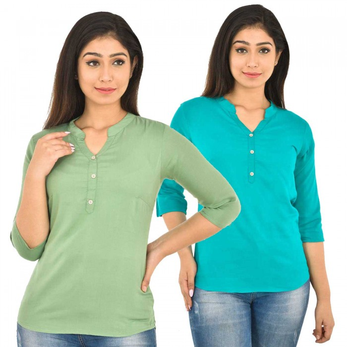 Light Green and Sky Blue Rayon Women Tops Combo Pack