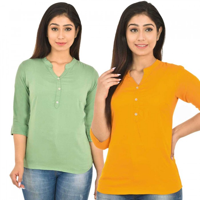 Light Green and Yellow Rayon Women Tops Combo Pack
