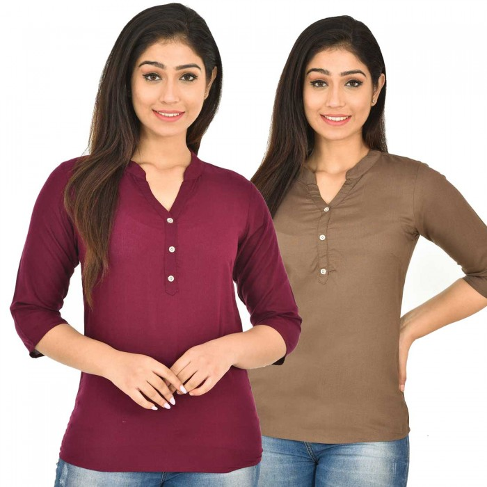 Maroon and Brown Rayon Women Tops Combo Pack