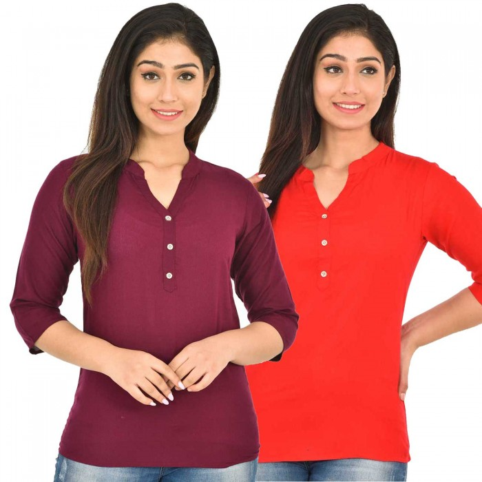 Maroon and carrot Red Rayon Women Tops Combo Pack