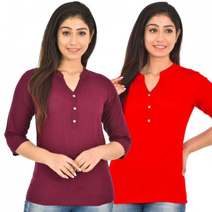 Maroon and Red Rayon Women Tops Combo Pack