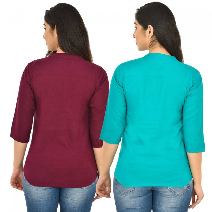 Maroon and Sky Blue  Rayon Women Tops Combo Pack