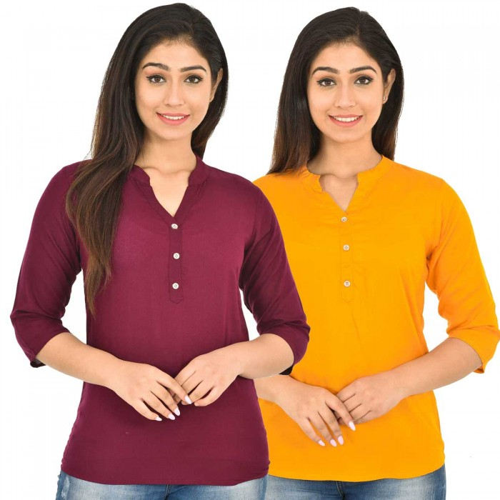 Maroon and Yellow  Rayon Women Tops Combo Pack