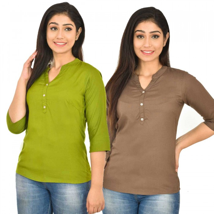 Mehndi and Brown  Rayon Women  Tops Combo Pack