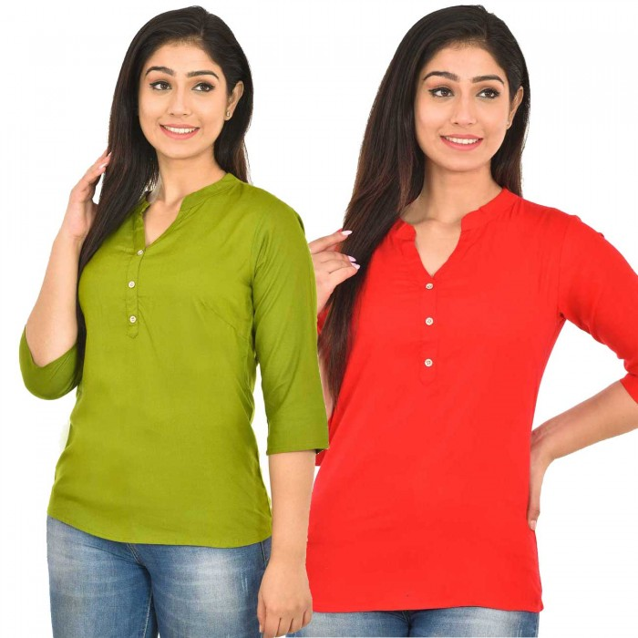 Mehndi and Carrot Red Rayon Women  Tops Combo Pack