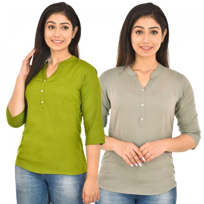 Mehndi and Grey Rayon Women Tops Combo Pack