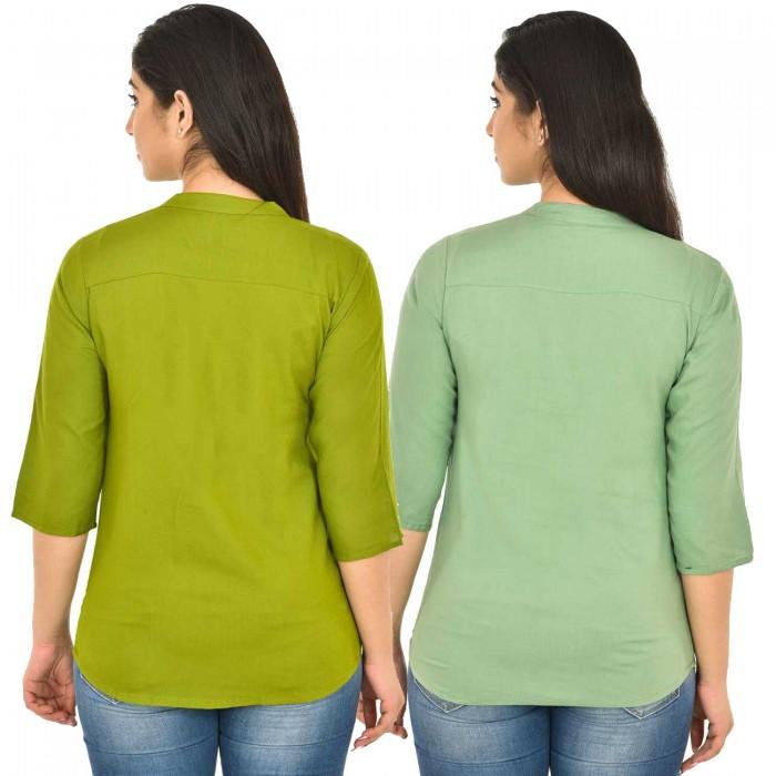 Mehndi and Light Green Rayon Women Tops Combo Pack