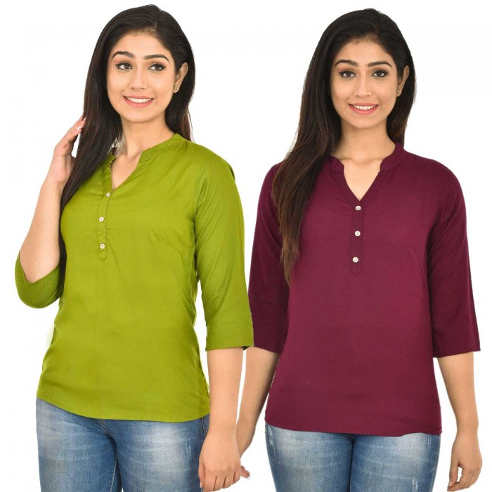 Mehndi and Maroon Rayon Women Tops Combo Pack