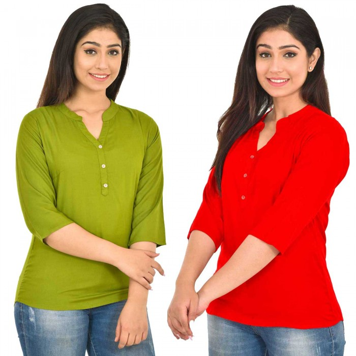 Mehndi and Red Rayon Women  Tops Combo Pack