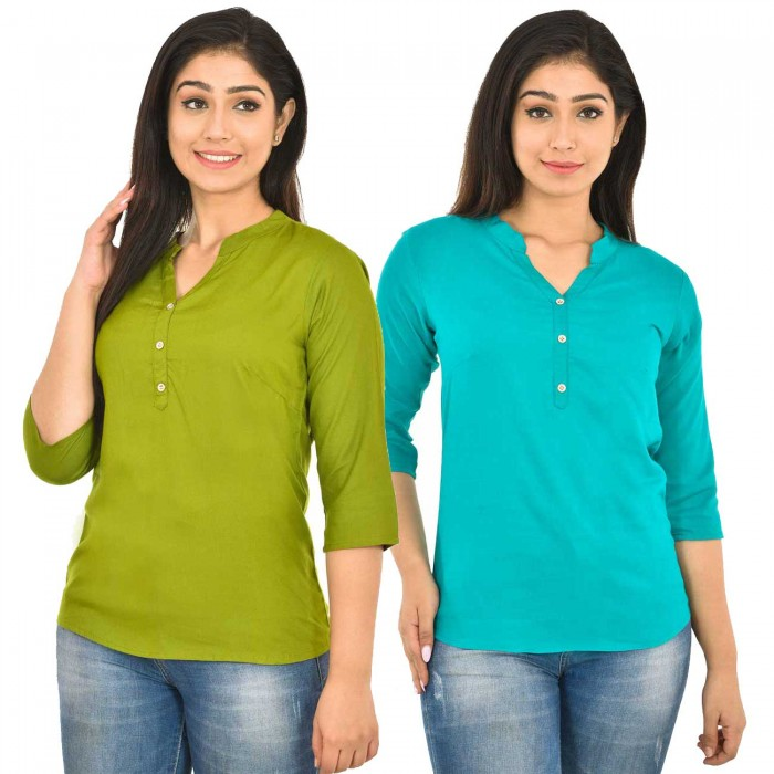 Mehndi and Sky Blue Rayon Women  Tops Combo Pack