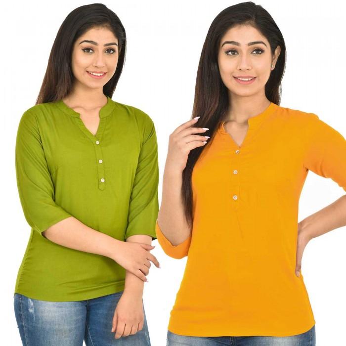 Mehndi and Yellow Rayon Women Tops Combo Pack