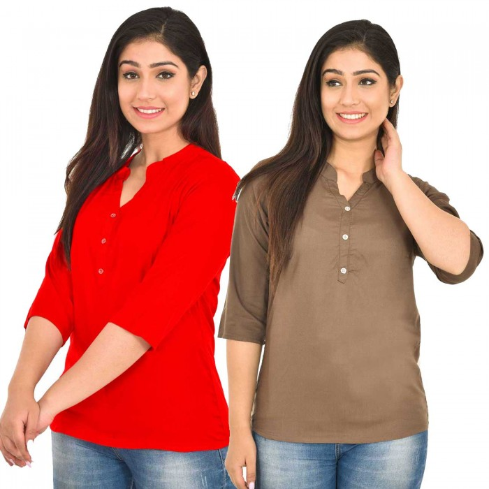 Red and Brown  Rayon Women Tops Combo Pack